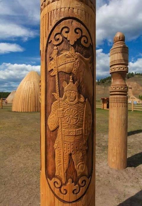 Tuvan figurative wooden art.