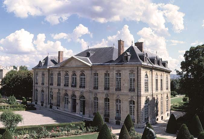 The hôtel Biron Paris.   The mansion that now houses the Musée Rodin was built in the Rue de Varenne, Paris, between 1727 and 1737, for the wealthy financier Abraham Peyrenc de Moras (1686-1732). The project, eventually overseen by Jean Aubert, Architect to the King, is a shining example of the rocaille architecture that was fashionable at this time.