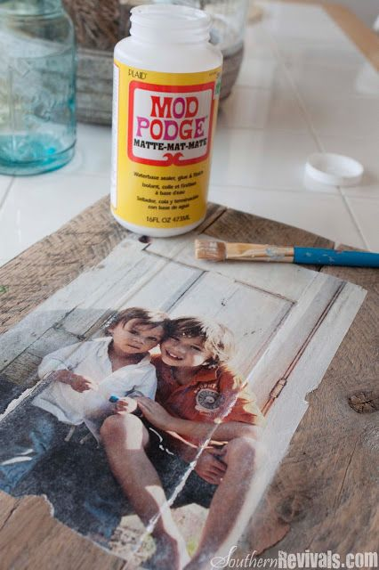 DIY Pallet Photo Frames with Mod Podge Photo Transfer - Southern Revivals  This also shows that you can do it on ceramic pots :)