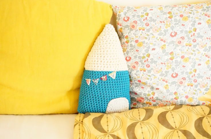 photo of a crochet house pillow - on betsy