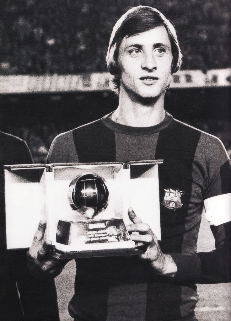 Johan Cruyff receives his third Ballon d'Or after being voted the Footballer of the Year 1974 by France Football magazine.
