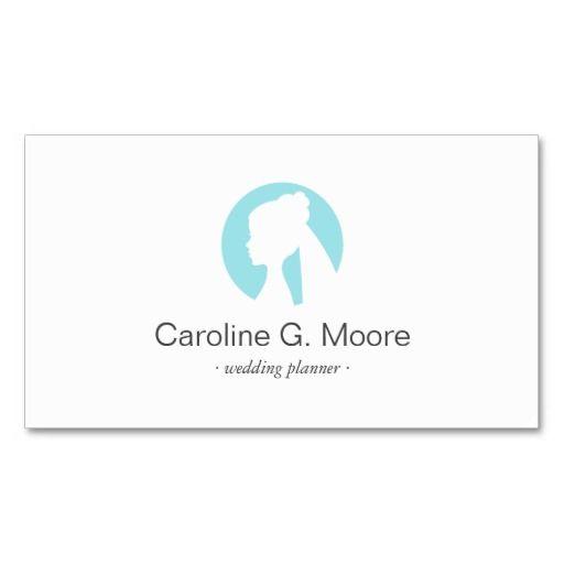 Elegant, modern minimalist business card featuring a bride logo (white profile silhouette of a bride on an aqua blue circle). Dark gray text. Great for a wedding planner or a wedding stylist/hairstylist.