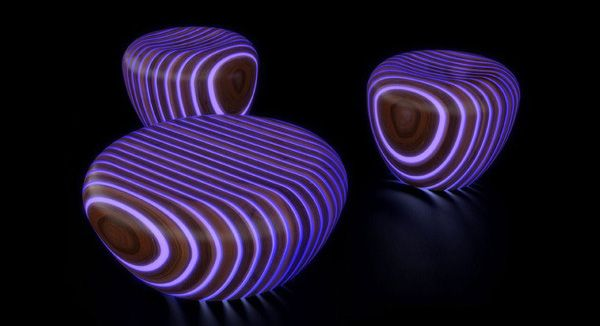 Glowing outdoor patio furniture..pretty sure I can do this with some tape and glow in the dark paint.