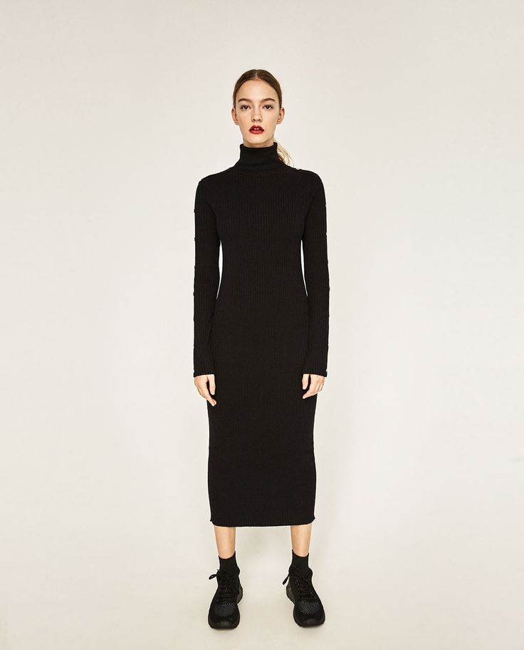 LONG DRESS WITH SNAP BUTTON SLEEVES-View all-KNITWEAR-WOMAN   ZARA United States