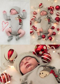 Baby's First Christmas Portrait Idea - I love the candy cane heart