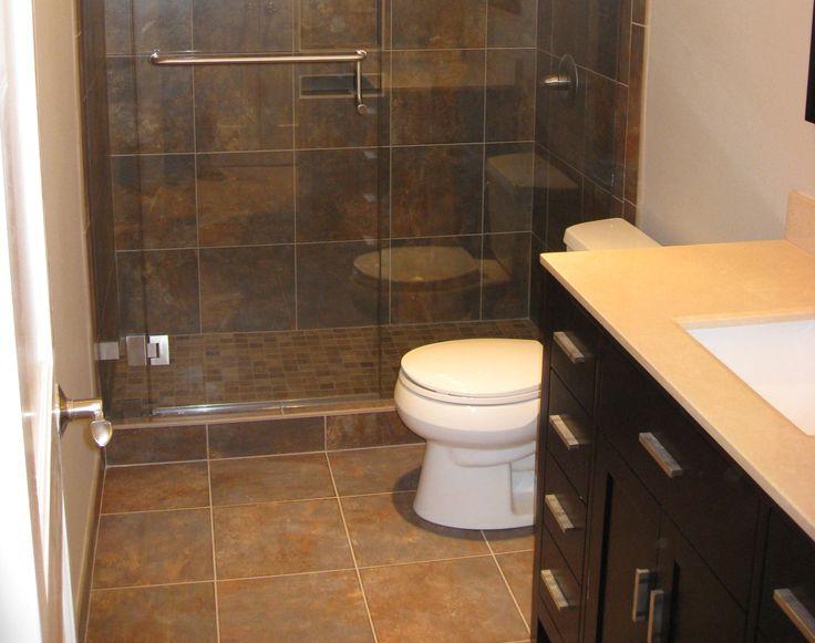 Dark Brown Floor Tile Bathroom