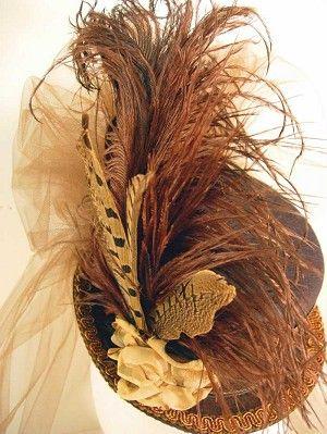 Ladies Petite Victorian Top Hat - Bronze-Neutral-on-Brown
