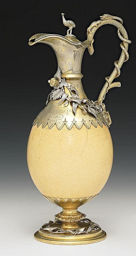 A SILVER AND SILVER GILT MOUNTED OSTRICH EGG WINE JUG, POSSIBLY BY HENRY STEINER, ADELAIDE, CIRCA 1871: