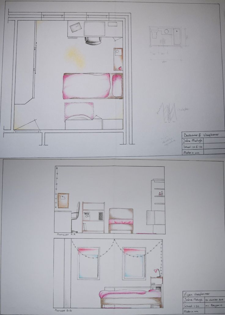 Leerjaar 1 - Interieur Tekenen - De opdracht was om je eigen slaapkamer te tekenen, met aanzichten. De rommel mocht je er niet bij tekenen :)