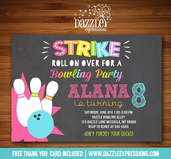 Printable Chalkboard Girl Bowling Party Birthday Invitation | Kids or Teen Party Idea | Bowlarama | Bowlathon Event | Chalkboard