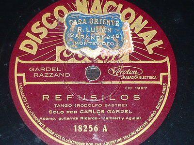 TANGO-78-rpm-RECORD-Disco-Nacional-CARLOS-GARDEL-Refusilos-ARGENTINA-Traicionera