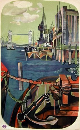 London's River 1951, a poster by John Minton (1917-57) for London Transport.