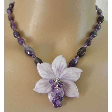 Exotic passion flower amethyst one of a kind necklace
