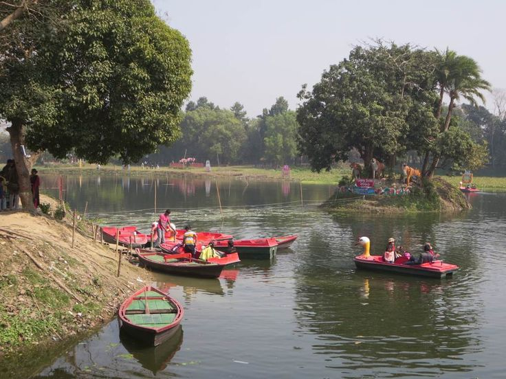 Pedalboats and rowboats are for rent on the small lake behind the Sadarbari Palace at Sonargaon near Dhaka, Bangladesh.