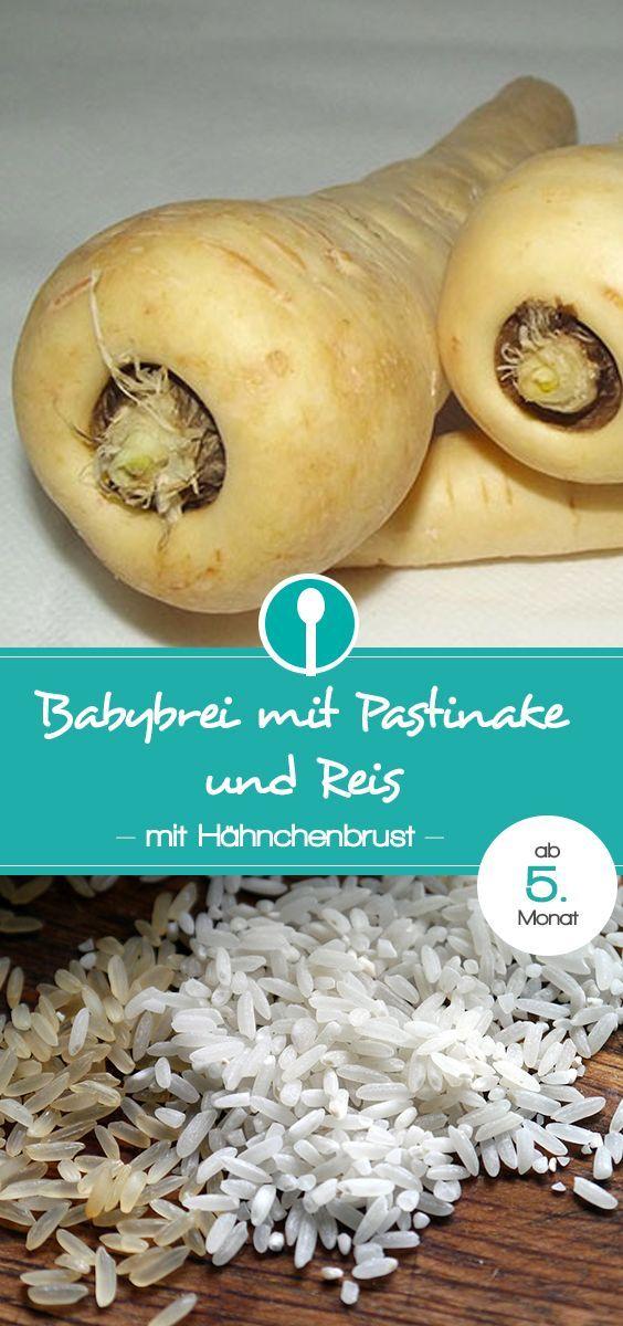 Babybrei Rezept mit Pastinake, Reis und Hähnchenbrust. Mittagsbrei mit Fleisch für Babys ab dem 5. Monat.