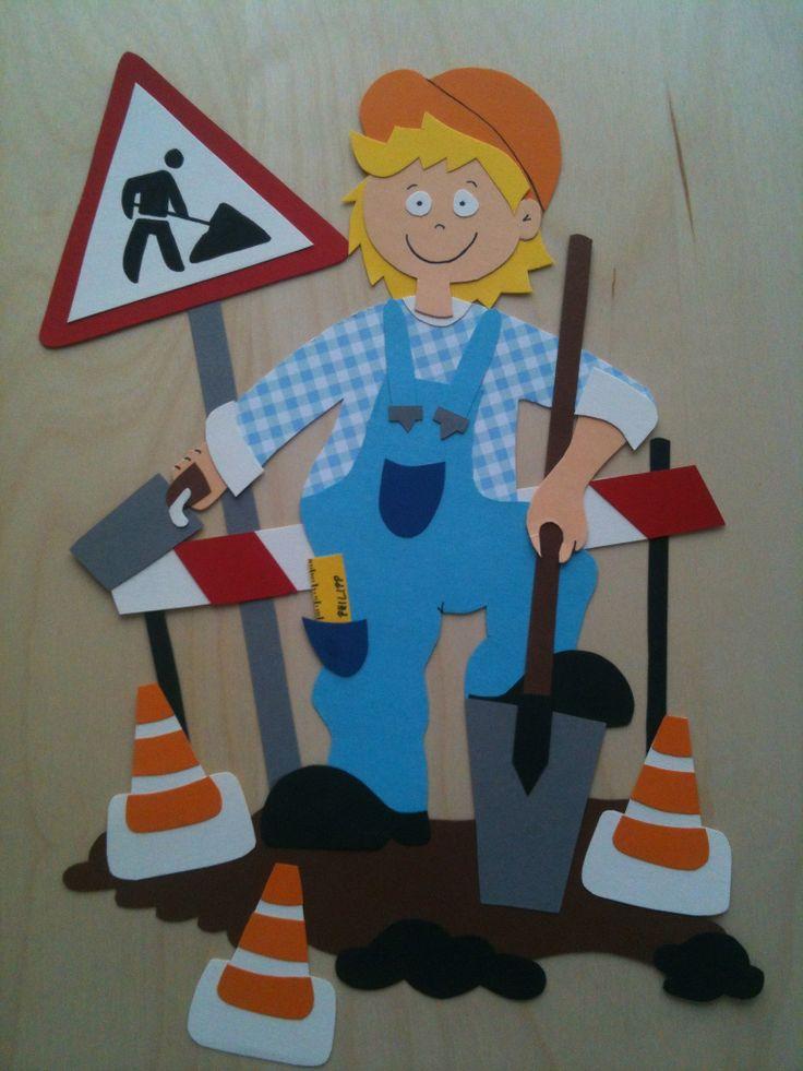 decoration for boys - road works - paper crafts - fensterbild für jungs - achtung, baustelle