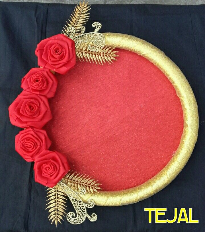 #Elegant beautiful wedding trays.. golden roses on it...#trousseau packing #wedding gifts #shagun#wedding times# arti thali /tray# colorful tray#can be Customized according to your choice... FOR ORDERS WHTS APP ME ON 9890592520