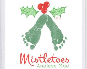 Your child's actual footprints! Footprintn art, baby's first christmas, footprint keepsake, grandma, Mistletoes Footprint Wall Art 304_pap