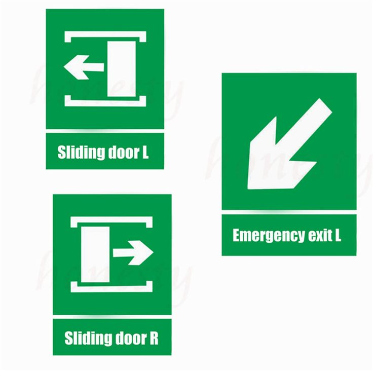 Sliding Door Green Fire Sign Self-adhesive Stickers For Walls Warning Safety Sign Sticker Emergency Exit Vinyl Decal Green