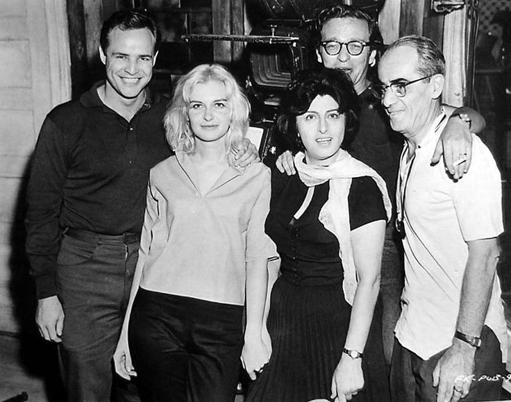 Marlon Brando, Joanne Woodward, Anna Magnani, director Sidney Lumet and cinematographer Boris Kaufman on the set of The Fugitive Kind