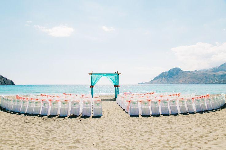 Semi-circle beach wedding set up in Crete by Moments www.weddingincrete.com