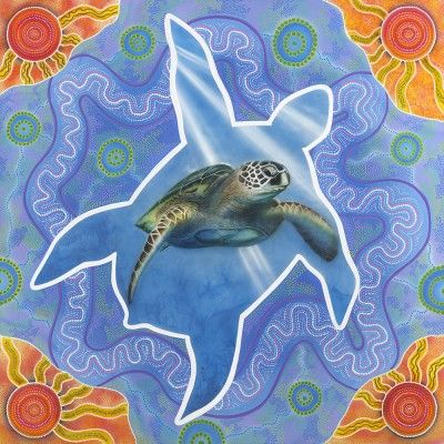 The Cycle by Dylan Sarra.   This painting is a reflection on the life and journey of the sea turtle. The life they live is one of harmony and balance. We all have a responsibility to cultivate an understanding and maintain a dutiful care of these beautiful creatures, in their natural environment.  #turtle #seaturtle #nativeanimal #australia #firstaustralians #indigenous #indigenousart #aboriginalart #ocean #environment #care #greatbarrierreef #marineconservation #marine #endangered #seaworld…