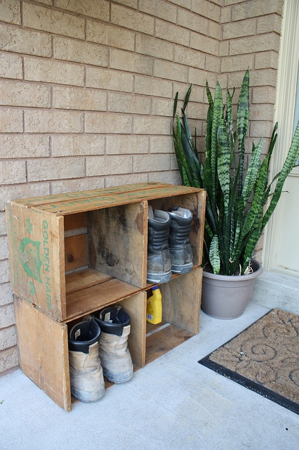 A place to store dirty work boots.