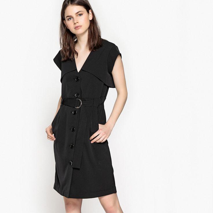 Vestido abotonado delante con cinturón, estilo trench negro La Redoute Collections | La Redoute