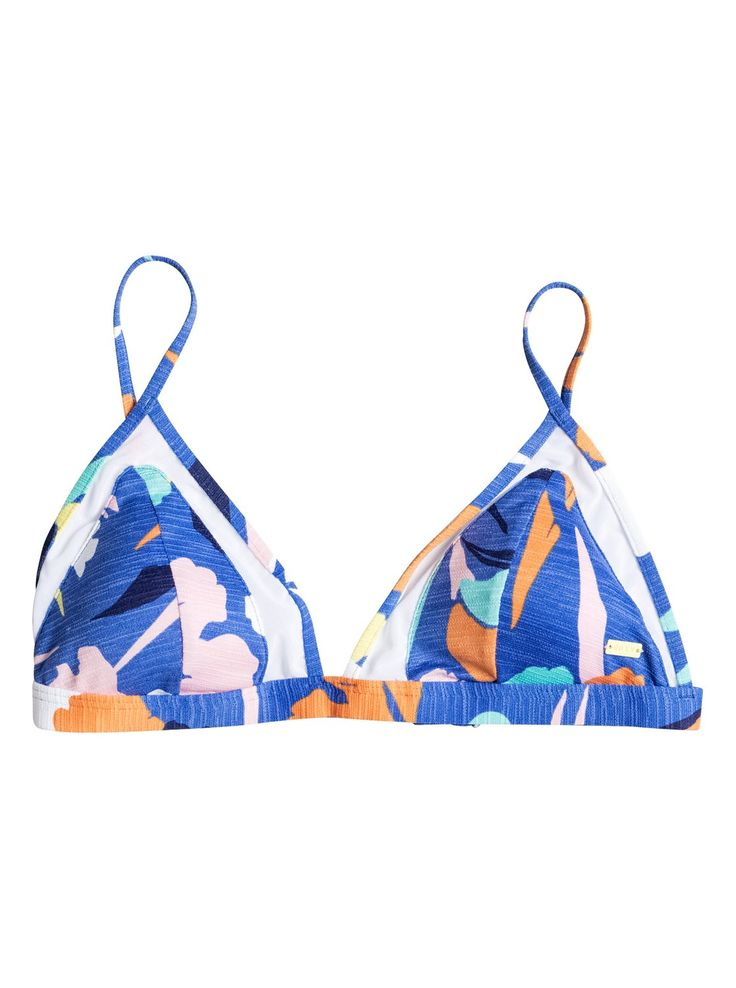 roxy, Noosa Floral Fixed Tri Bikini Top, Bleached Denim-6 (pmk6)