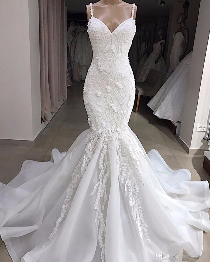 Sexy Spaghetti Lace Appliqed Beaded Open Back Mermaid Wedding Dress Luxury Crystal 3D Flowers Sheath Plus Size Bohemian Beach Bridal Gown Lovely Wedding Dresses Mermaids Wedding Dresses From Earlybirdno1, $271.69| DHgate.Com