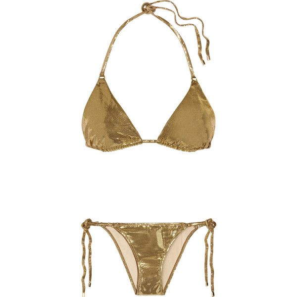L'Agent by Agent Provocateur Sevilla metallic triangle bikini ($165) ❤ liked on Polyvore featuring swimwear, bikinis, bikini, agent provocateur, metallic, swimsuit, gold, swim suits, triangle swimsuit and retro bikini