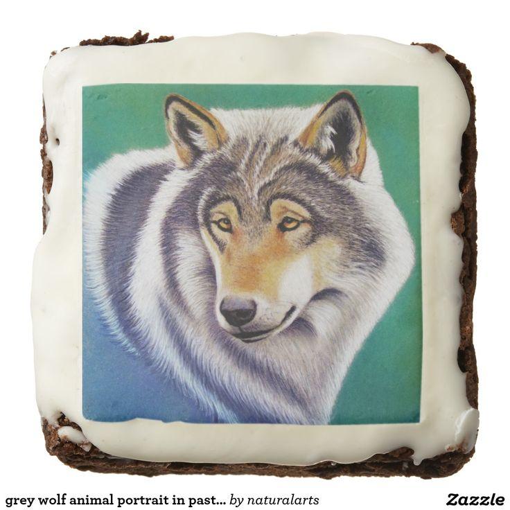 grey wolf animal portrait in pastel square brownie