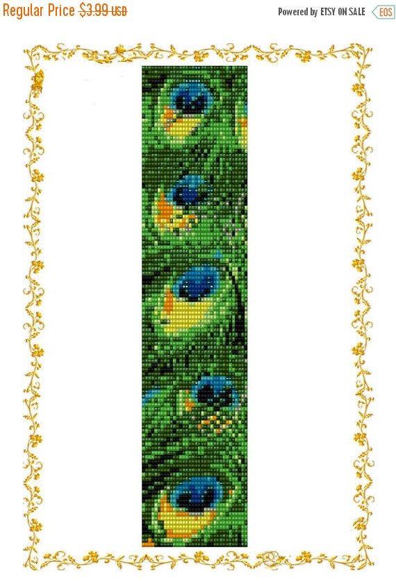 SALE30% Loom Beading Pattern Peacock's Feather. Beadwork, beaded pattern bracelet, loom pattern Peacock Feather, seed bead pattern de DiushesPatterns en Etsy https://www.etsy.com/es/listing/267766943/sale30-loom-beading-pattern-peacocks