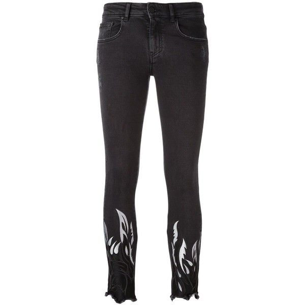 Filles A Papa tribal embroidery cropped trousers ($420) ❤ liked on Polyvore featuring pants, capris, black, tribal pants, cropped trousers, embroidered pants, cropped pants and tribal print pants