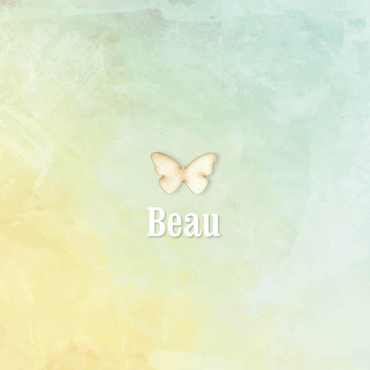 Net een klein schilderijtje, dit mooie, rustieke geboortekaartje. Het krijgt karakter door een echt houten vlinder. Met de aquarel achtergrond in pastel tinten en een lief wolkje en vlinders aan de binnenzijde | geboortekaartje meisje | uniekkaartje.nl