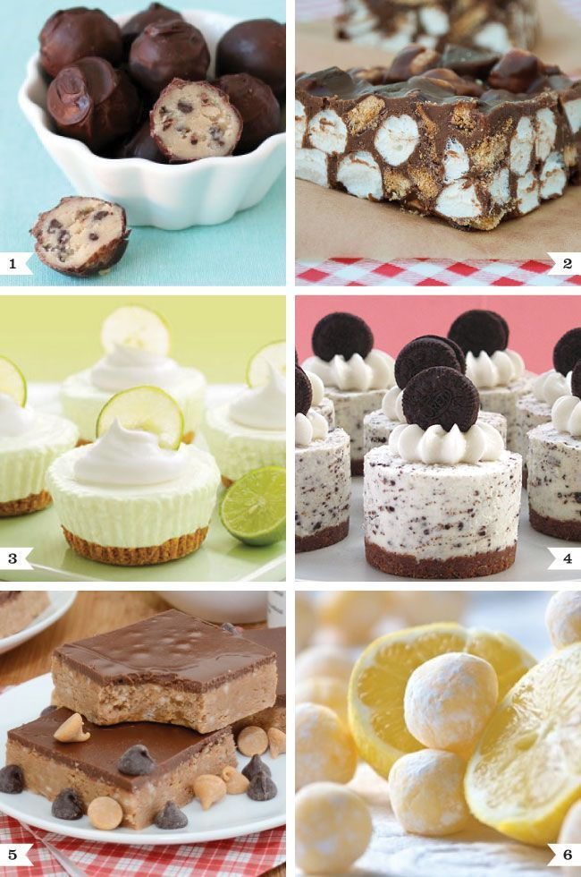 No-bake dessert recipes!! Chocolate chip cookie balls, No-bake s�mores bars, No-bake key lime cream cakes, Oreo cookies and cream no-bake cheesecakes, Peanut butter no-bake Nutella bars and No-bake white chocolate lemon truffles!! YUMMY!!