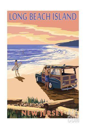 Long Beach Island, New Jersey - Woody on Beach Art Print by Lantern Press at Art.com