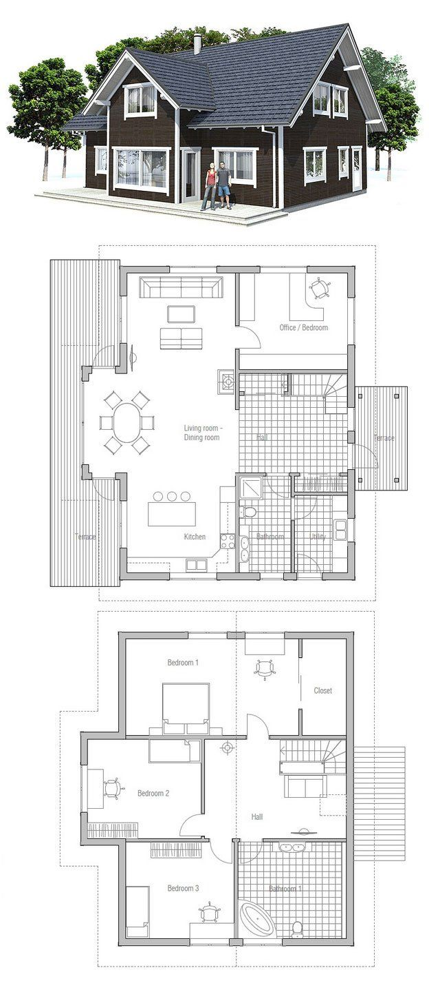 Modest & affordable small house plan. Three bedrooms, two bathrooms. Logical interior planning.