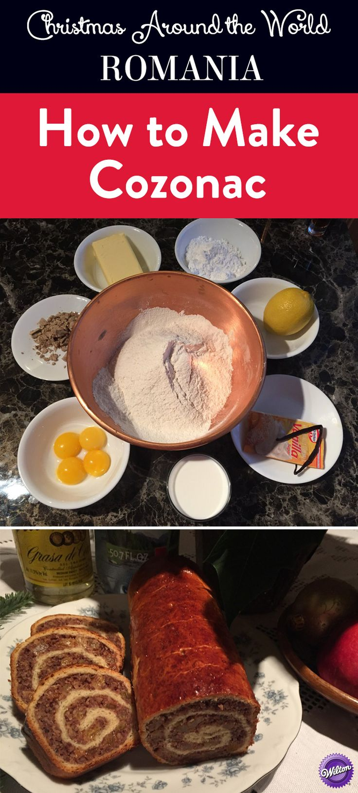 How to Make Cozonac - Learn how to make this sweet traditional Romanian Christmas food. Cozonac is a sweet walnut bread enriched with butter, eggs and milk and flavored with lemon zest, orange zest, raisins or rum. The dough is rolled flat with a rolling pin, a rich filling is spread, and then the dough is rolled back into a shape that somewhat resembles a pinwheel. Once baked, the filling forms a swirl.