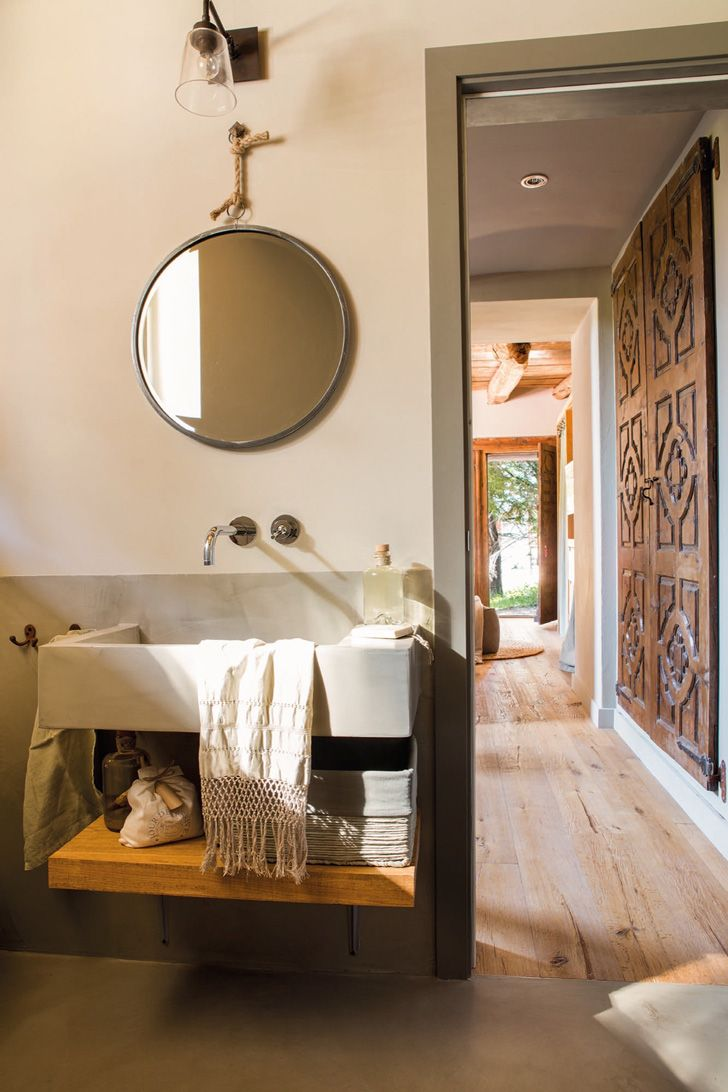 Rustic chic bathroom - Decordemon A Rustic Chic House In The Pyrenees In Spain