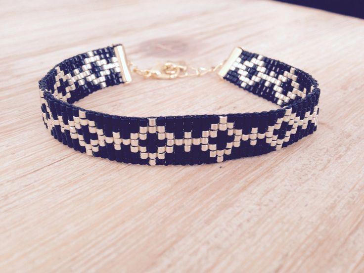 Bracelet manchette en perles Miyuki coloris noir et doré : Bracelet par l-ecrin-creatif