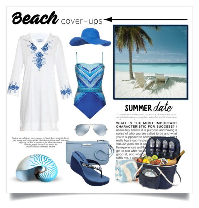 """""""Beach Date"""" by conch-lady ❤ liked on Polyvore featuring BCBGMAXAZRIA, Laura Manara, Nine West, Maslin & Co., Thos. Baker, Gottex, Ray-Ban, Accessorize, IPANEMA and beach"""