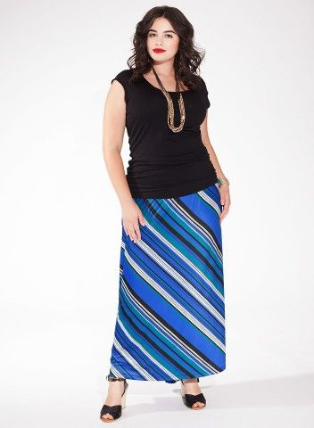 Delray Maxi Plus Size Skirt in Ocean Wave