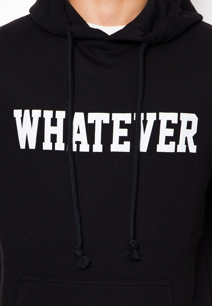 Whatever Terry Sweater by Awesome, sweater with typography print and made from cotton, rope accen and hoodie, long sleeves, front pocket, regular fit. Perfect match for casual style, keep cool with this black sweater. http://www.zocko.com/z/JFc59