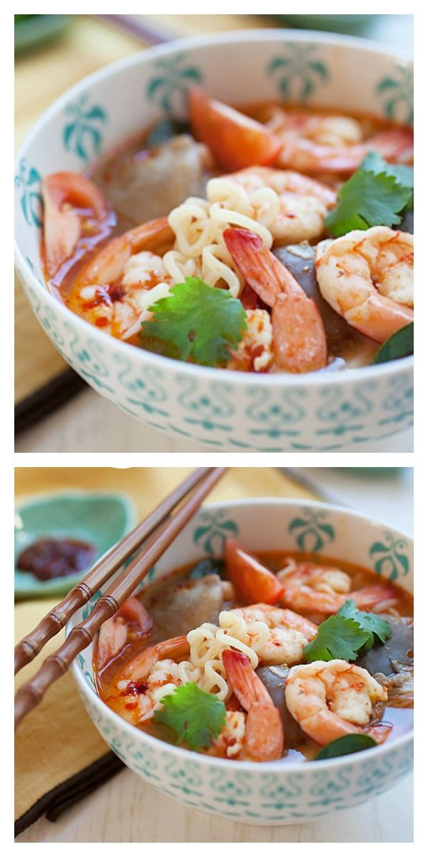 15-minute Thai Tom Yum Noodle Soup, a hearty, super delicious, and simply THE BEST and much better than your regular Thai restaurant | http://rasamalaysia.com