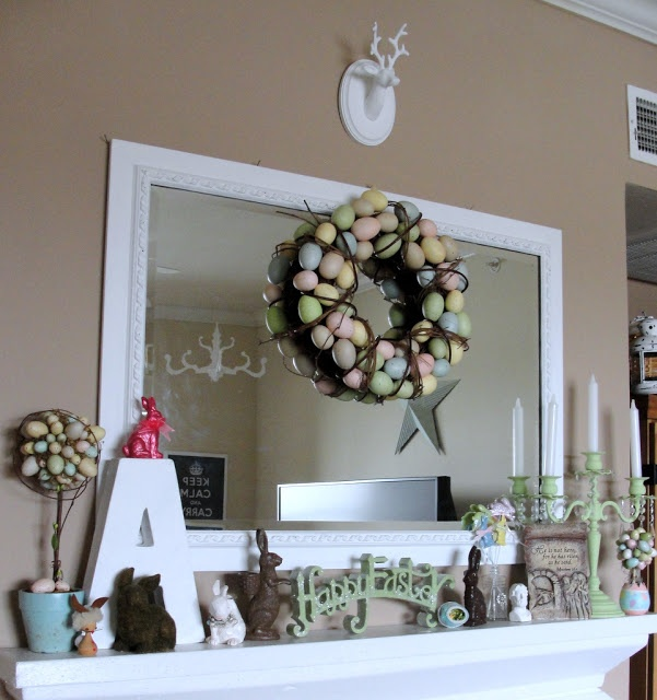 Little Lovables: Homefront: Shabby White and Bunny Easter Mantel