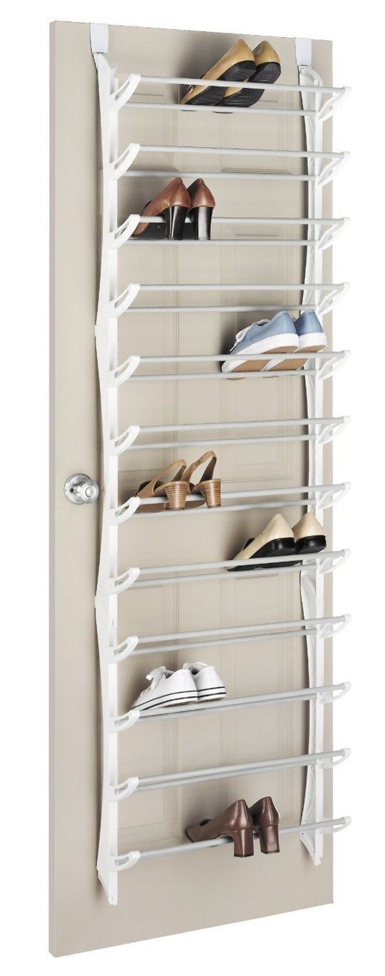 For the cupboard door. Top Ten: The Best Shoe Storage Options — Apartment Therapy's Annual Guide 2014. 36 pair over-the-door shoe rack, $23.99 from Amazon.