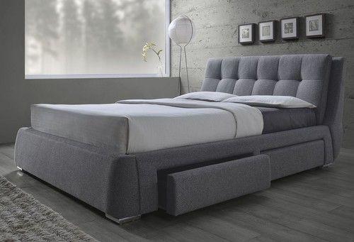 Fenbrook Grey Linen Queen Size Platform Bed with Storage 300523Q