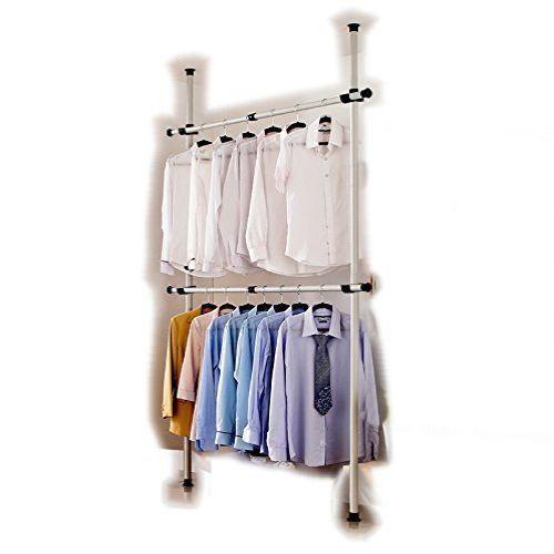 Clothes Hanger Floor to Ceiling Coat Rack Wardrobe Storage Organizer Home Closet #ClothesHangerFloor