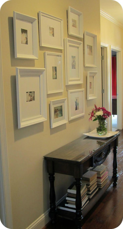 Great photo wallBathroom Design, Blank Wall, Photos Gallery, Wall Frames, Photos Wall, Frames Gallery, White Frames, Gallery Wall, Pictures Frames